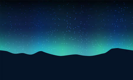Aurora light and star on sky in mountain. Vector drawing Ilustrace