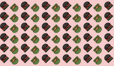Hamburger black green Pattern background on Pink.