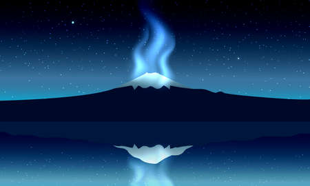 Fuji Mountain at night panoramic view with reflection on the lake with aurora light. Vector illustration.