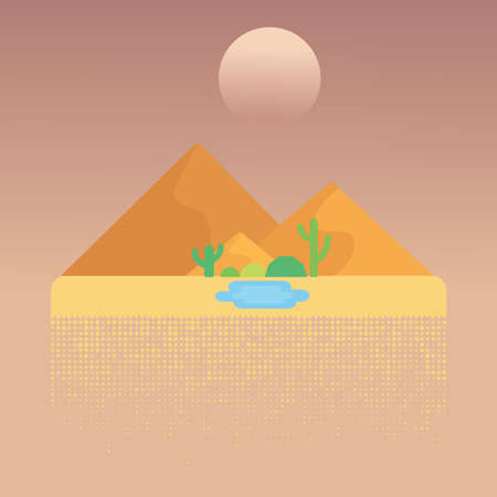 Desert flat design and oasis with Cactus. Vector illustration