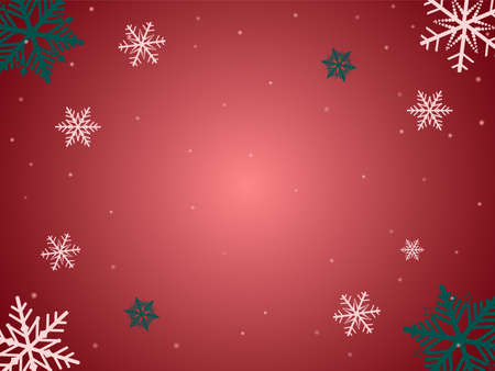 Snowflakes frame on red background. Christmas festive template. Snow pattern. Vector illustration. Çizim