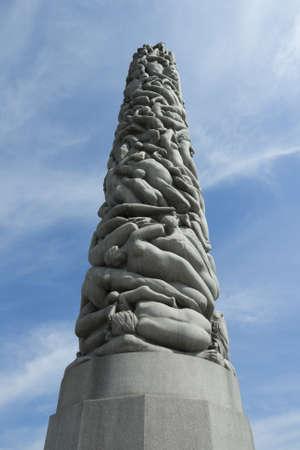 Vigeland Park, Oslo, Norway, tower of 121 figures granite column Stock Photo