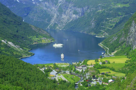 Geiranger is the one of the beutiful place in Norway with tourist ships