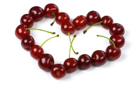 Heart from a cherry on white