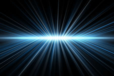 Rays light, blue on black, abstract