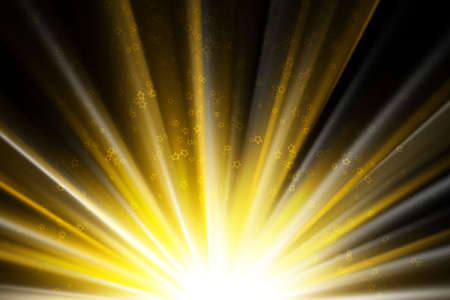 Stars on a golden rays of light, black background