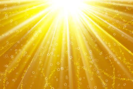 Stars descending on a path of golden light