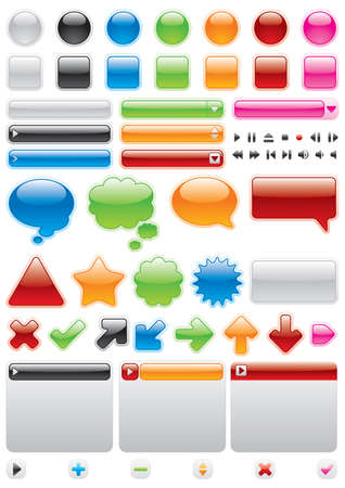 Collection of brightly colored, glossy web elements, paths mask Stock Vector - 4370973