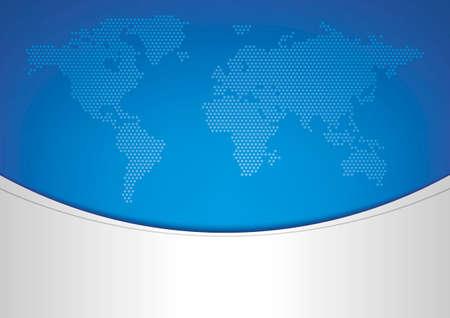 world map on blue background, mesh gradient