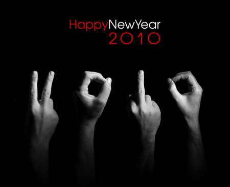 Fingers are representing number  on the greeting card with New Year 2010 Stock Photo