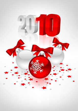 Vectorial postcard to a new year with white and red christmas balls. Mesh gradient