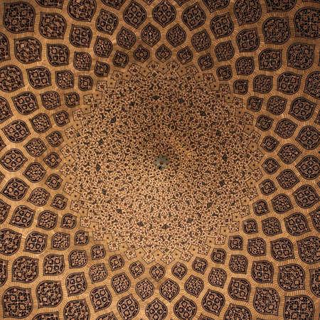 Yellow islamic geometric pattern in mosque