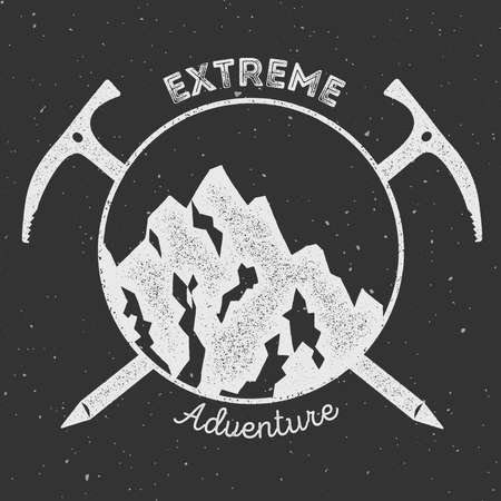 Mountain adventure and expedition insignia badge collection. Outdoor expedition logo. Climbing stamped t-shirt print.