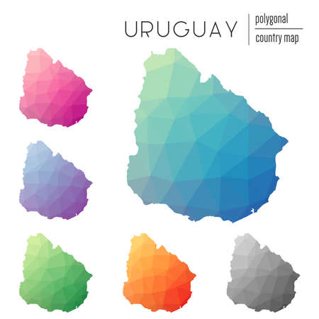 Set of vector polygonal Uruguay maps. Bright gradient map of country in low poly style. Multicolored Uruguay map in geometric style for your infographics. Illustration