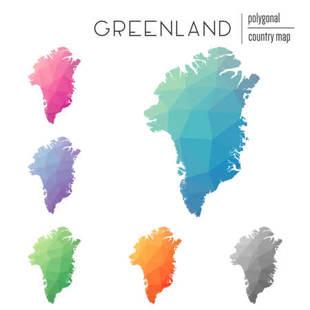 trigonal: Set of vector polygonal Greenland maps. Bright gradient map of country in low poly style. Multicolored Greenland map in geometric style for your infographics.