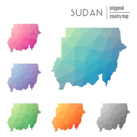 Set of vector polygonal Sudan maps. Bright gradient map of country in low poly style. Multicolored Sudan map in geometric style for your infographics. Illustration