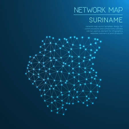 network map: Suriname network map. Abstract polygonal map design. Internet connections vector illustration.