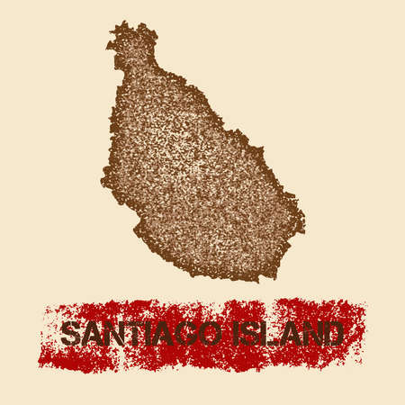 Santiago Island distressed map. Grunge patriotic poster with textured island ink stamp and roller paint mark, vector illustration. Illustration
