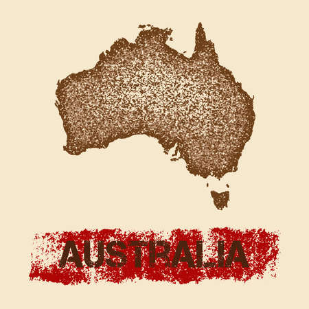 Australia distressed map. Grunge patriotic poster with textured country ink stamp and roller paint mark, vector illustration. Illustration