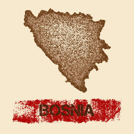 herz: Bosnia distressed map. Grunge patriotic poster with textured country ink stamp and roller paint mark, vector illustration. Illustration