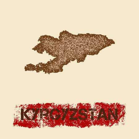 Kyrgyzstan distressed map. Grunge patriotic poster with textured country ink stamp and roller paint mark, vector illustration.