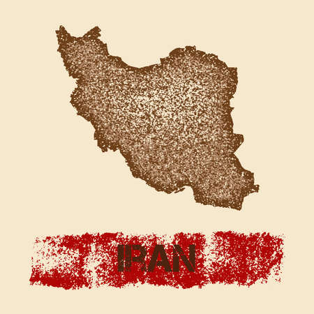 Iran distressed map. Grunge patriotic poster with textured country ink stamp and roller paint mark, vector illustration.