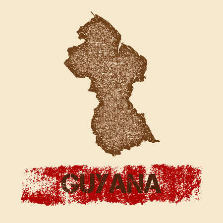 Guyana distressed map. Grunge patriotic poster with textured country ink stamp and roller paint mark, vector illustration. Illustration