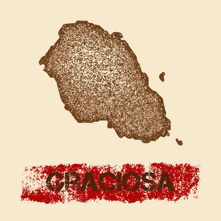 Graciosa distressed map. Grunge patriotic poster with textured island ink stamp and roller paint mark, vector illustration. Illustration