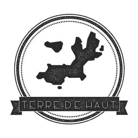 Terre-de-Haut Island map stamp. Retro distressed insignia. Hipster round badge with text banner. Island vector illustration.