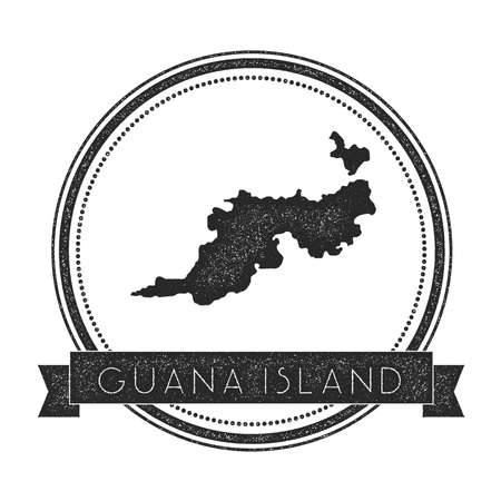 Guana Island map stamp. Retro distressed insignia. Hipster round badge with text banner. Island vector illustration. Illustration