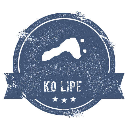 ko: Ko Lipe logo sign. Travel rubber stamp with the name and map of island, vector illustration. Can be used as insignia, logotype, label, sticker or badge.