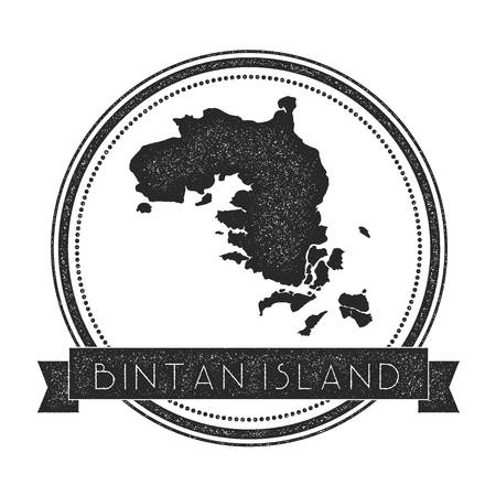 indo: Bintan Island map stamp. Retro distressed insignia. Hipster round badge with text banner. Island vector illustration.