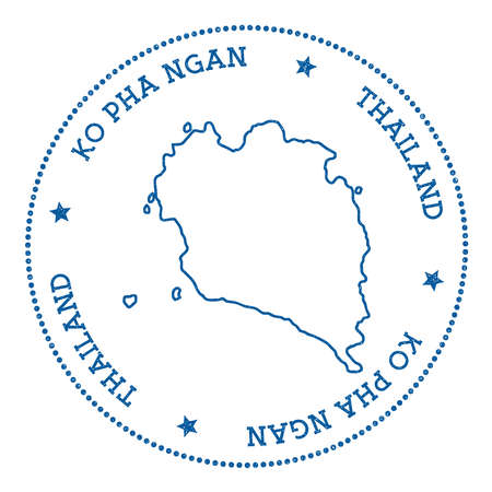ko: Ko Pha Ngan map sticker. Hipster and retro style badge. Minimalistic insignia with round dots border. Island vector illustration.