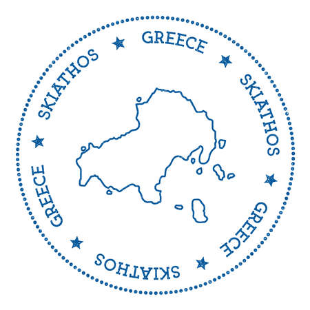 Skiathos map sticker. Hipster and retro style badge. Minimalistic insignia with round dots border. Island vector illustration.