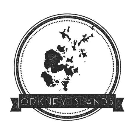 Orkney Islands map stamp. Retro distressed insignia. Hipster round badge with text banner. Island vector illustration.