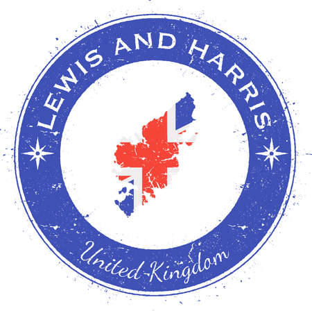 lewis: Lewis and Harris circular patriotic badge. Grunge rubber stamp with island flag, map and name written along circle border, vector illustration.