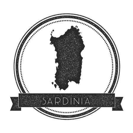 sardinia: Sardinia map stamp. Retro distressed insignia.