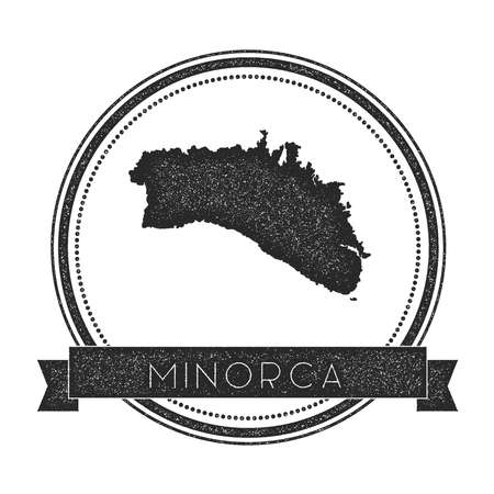 kingdom of spain: Minorca map stamp. Retro distressed insignia. Hipster round badge with text banner Illustration