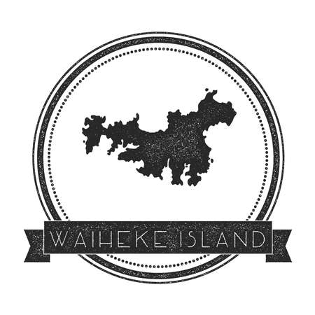 Waiheke Island map stamp. Retro distressed insignia. Hipster round badge with text banner. Island vector illustration.