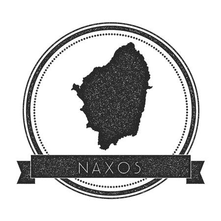 Naxos map stamp. Retro distressed insignia. Hipster round badge with text banner. Island vector illustration.