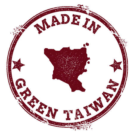 Green Island, Taiwan seal. Vintage island map sticker. Grunge rubber stamp with Made in text and map outline, vector illustration. Illustration