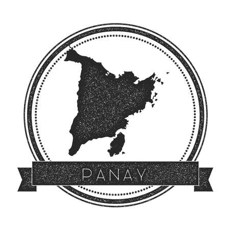 Panay map stamp. Retro distressed insignia. Hipster round badge with text banner. Island vector illustration. Illustration