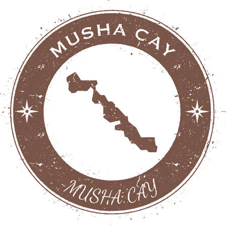 compas: Musha Cay circular patriotic badge. Grunge rubber stamp with island flag, map and name written along circle border, vector illustration. Illustration