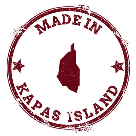 Kapas Island seal. Vintage island map sticker. Grunge rubber stamp with Made in text and map outline.