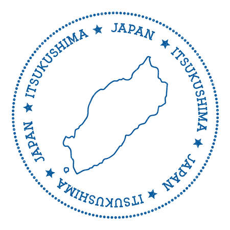itsukushima: Itsukushima map sticker. Hipster and retro style badge. Minimalistic insignia with round dots border. Island vector illustration.