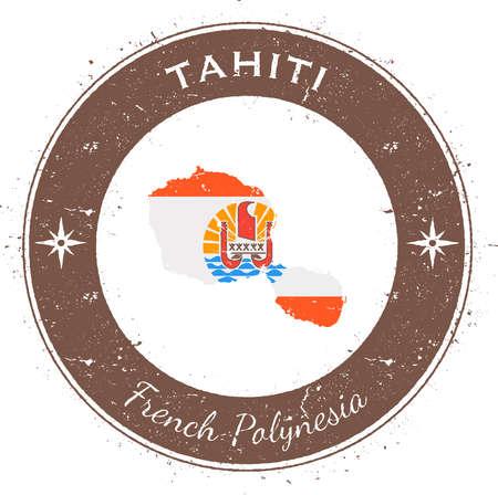 Tahiti insigne patriotique circulaire. timbre en caoutchouc grunge avec le drapeau de l'île, carte et nom écrit le long de la frontière de cercle, illustration vectorielle.