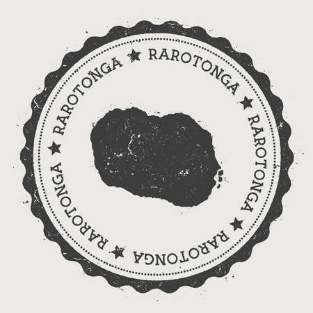 nationalist: Rarotonga sticker. Hipster round rubber stamp with island map. Vintage passport sign with circular text and stars, illustration. Illustration