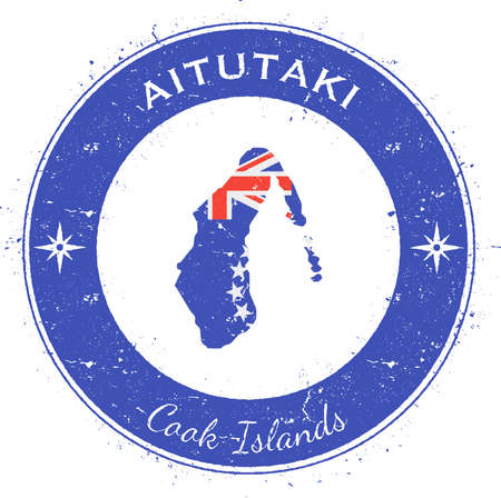 pied: Aitutaki circular patriotic badge. Grunge rubber stamp with island flag, map and name written along circle border, vector illustration. Illustration