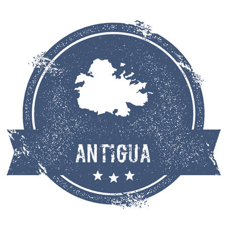 antigua: Antigua logo sign. Travel rubber stamp with the name and map of island, vector illustration. Can be used as insignia, logotype, label, sticker or badge. Illustration