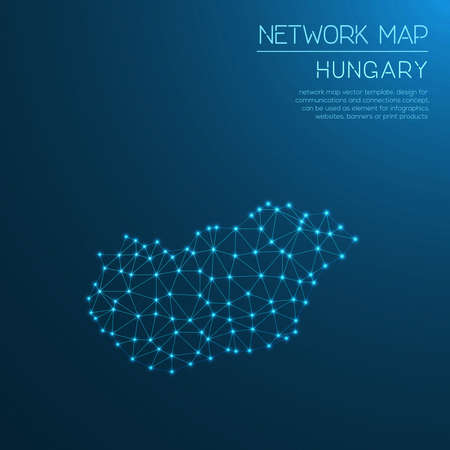 network map: Hungary network map. Abstract polygonal map design. Internet connections.